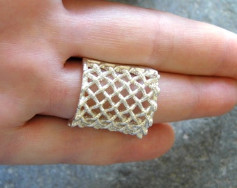 Rectangular woven rope sterling silver ring. Statement sterling silver ring. Modern 925 silver ring. Cocktail ring.