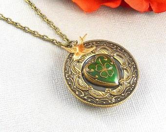 Heart Irish Locket, Antique Gold, Gold Irish Locket, Valentine Love Locket, Three Cloves, Brides Bridesmaids, Weddings,  Holiday Gift