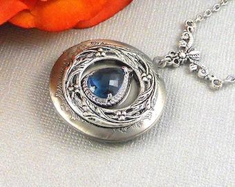 Victorian Sapphire Locket Antique Silver Locket Rhinestone Vintage Navy Blue Birthstone Filigree Locket Necklace