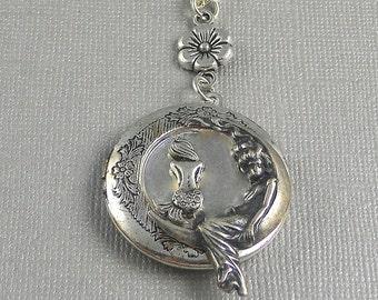 Waters Edge,Mermaid Locket,Mermaid Necklace,Sterling Mermaid Locket,Siren/'s Call,Siren Necklace,Sterling Silver Locket,valleygirldesigns.