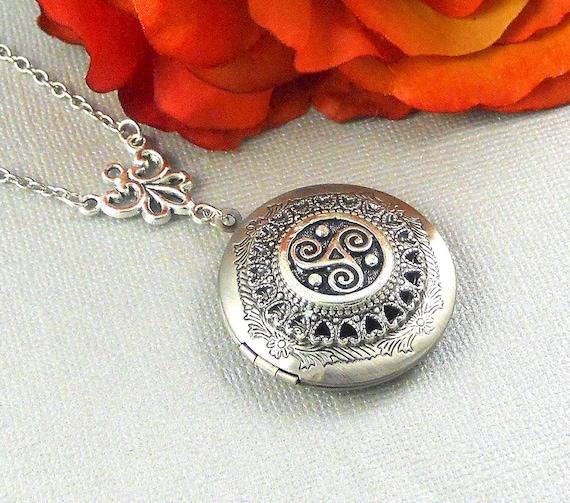 Keltische Triskele-Medaillon Silber Celtic Medaillon | Etsy