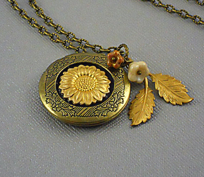 Sunflower Sunflower Locket Sunflower Necklace Branch Leaf