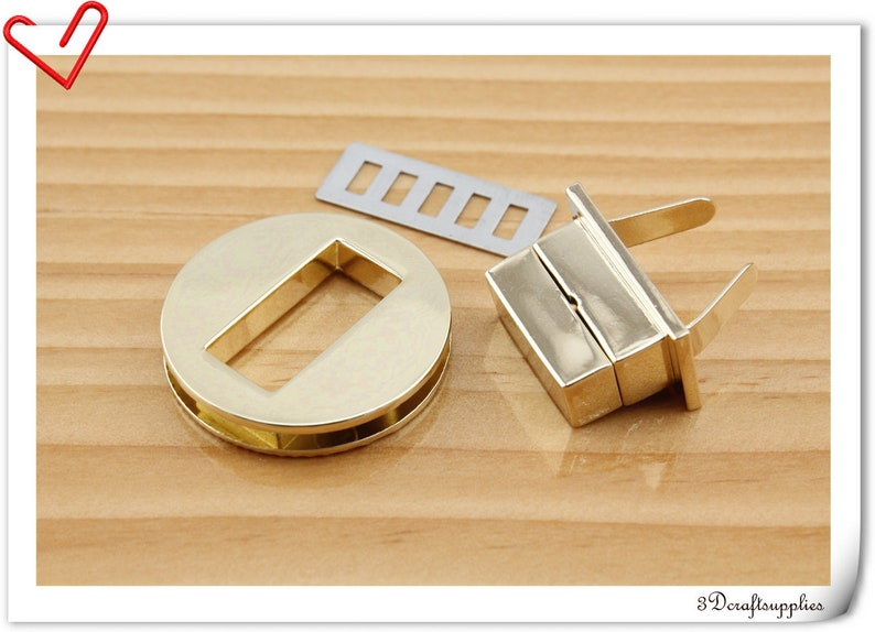 1.25 inch Purse lock  twist  purse turn lock clutch clock  bag lock Light gold N62 32 mm