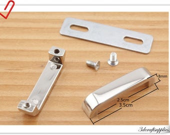 1 inch nickel bridge buckle ,belt loops , strap buckle fastener 8pcs ( attach with screws and washers) i69