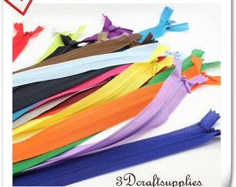 340 color to choose 25cm ( 10 inch ) 3#  INVISIBLE Zippers x 10pcs  Red, orange, yellow,  green,  brown, beige, gray , Black  T64