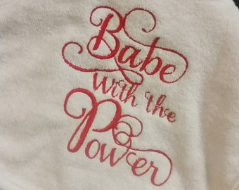Labyrinth Baby Bib, Babe With the Power Embroidery/Applique Unique Baby Gift
