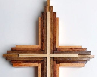 Cross Wooden Crucifix Wood Cross Stained Wooden Cross Crucifix Layered Wood Crucifix Cross Religious Home Decor Spirituality Crosses