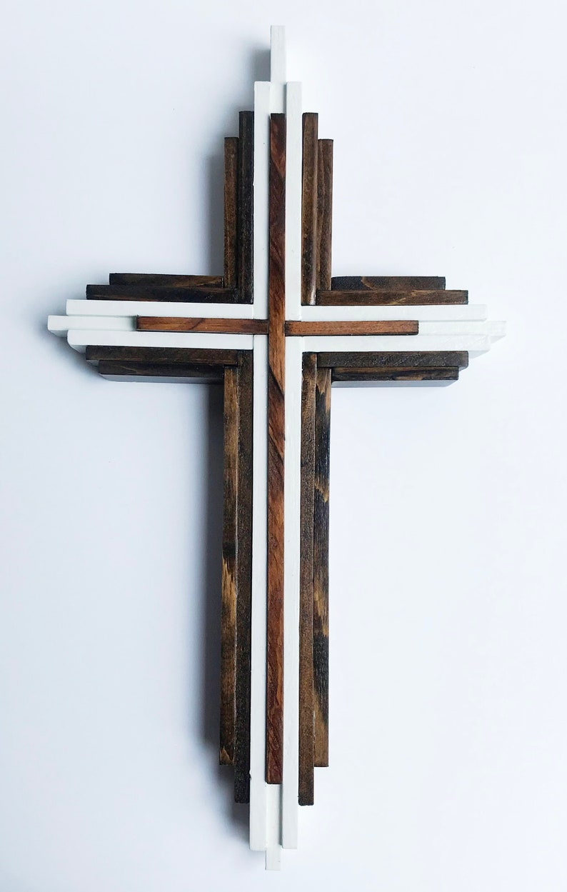 Cross Crucifix Handmade Wood Cross Wooden Crucifix Stained Layered Wooden Cross