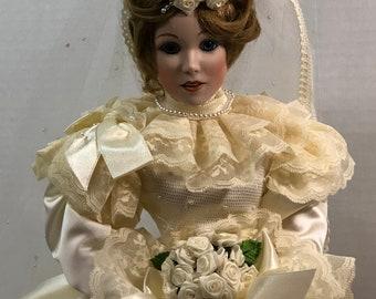 Portrait of Innocence Porcelain Bride Doll on Bench