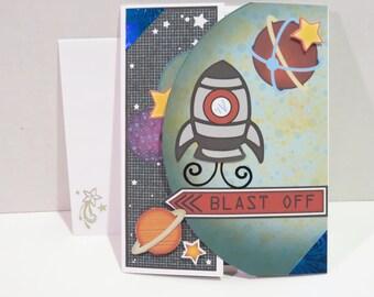 Space Theme Birthday Card