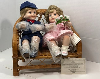 Katie & Kyle Puppy Love Porcelain Dolls with Bench