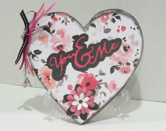 Heart Shaped You and Me Valentines Day/Anniversary/Wedding chipboard