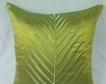 Lime green cushion cover  with apple green fern leaf. Decorative  pillow cover. Bright green cushion cover. On 20 % discount 2 pcs. in stock