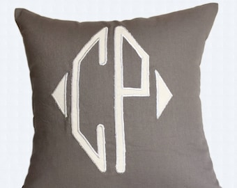 Diamond monogram  pillow. Dark gray toupe  double initial throw  pillow cover. Personalized two letter cushion cover room decor. Custom made