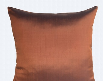 Bronze dupioni  silk pillow. Decorative cinnamon silk   cushion cover. Luxury silk pillow. pure silk throw pillow cover. 16 , 18. 20 inches