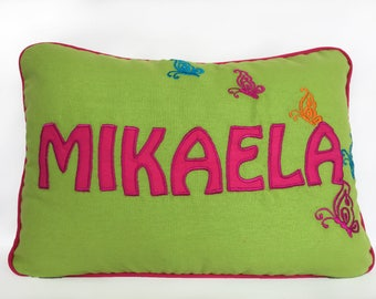 Personalized pillow cover lime  green and hot  pink name pillow. Butterfly pillow. nursery decor. Colorful kids pillow. Custom made. 12 x 18