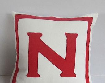 monogram pillow. off  white  monogram  pillow. custom  made  initial pillow. chose  your  monogram  and  color.  18 inch. custom made