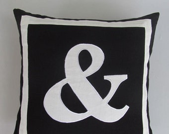 Ampersand(&) Black and white monogram pillow cover 18 inch