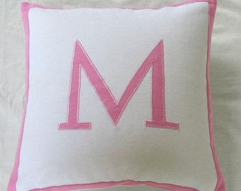 Monogrammed throw pillow - white and pink custom  made 16  inch