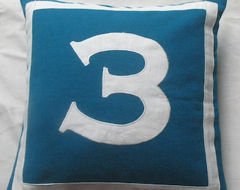 blue number pillow - custom made house number pillow