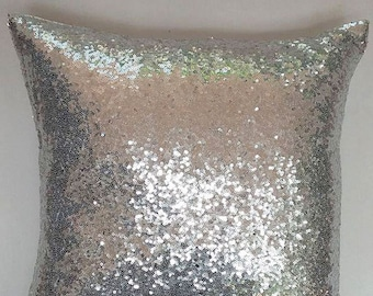 Silver sequin pillow. luxury pillow. Sparkly cushion cover. eleant pillow. Event pillow. decorative pillow. Festive decor 20 inchs