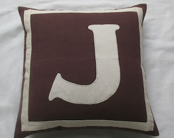 Brown initial pillow. Brown and white monogram  pillow cover. Alfabut cushion. Parsnalize gift pillow. Custom made letter pillow. Dome decor