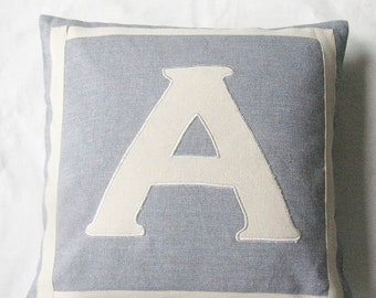2 in one  monogram  pillow.  back  and  frant  monogram cushion.  custom made letter pillow of  your  choice. 18inch
