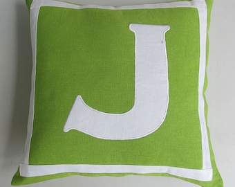 Lime green and white monogrammed pillow. Alfabut cushion cover.  Initial throw pillow cover.   Custom made - choose your colors & size.