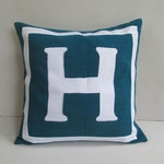 Teal blue and white decorative Initial pillow covers. Custom made monogram pillow initial throw pillow cover. Alphabet cushion cover 18inch