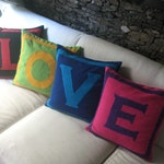 Love Pillows Set of 4 pillow covers that spell LOVE in choice of your colors.  Decorative multi coloured pillow cover. Custom made. 20 % off