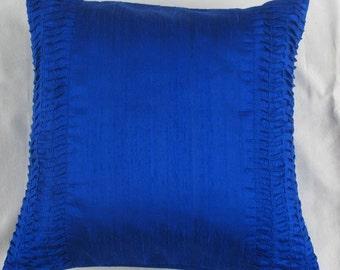 Red art silk pillow, Rippled pin tuck