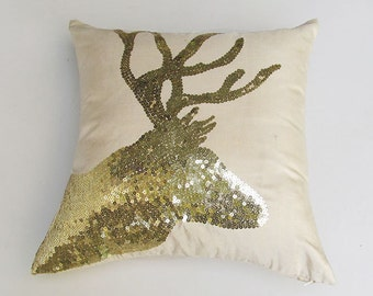 gold sequin  deer head on cream pillow . decorative  deer head pillow.  antler pillow, festive pillow  custom made 18 inch