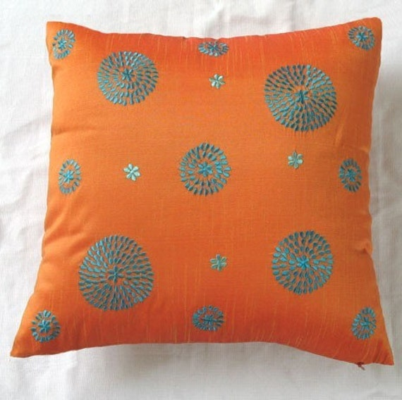 orange and turquoise blue circle embroided pillow 18inch etsy. Black Bedroom Furniture Sets. Home Design Ideas
