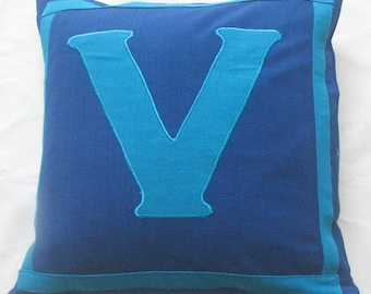 Royal Blue monogram  Pillows. Personalize cushio. Gift pillow.  Monogrammed throw pillow cover.  Dome pillow. Custom made.