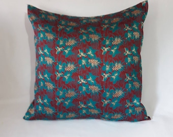 Burgundy floral Decorative Pillow Covers, festive pillow,hibiscus floral cushion cover, Custom made, luxury brocade pillow, Custom made.