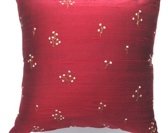 On sale, deep Red floral dupioni silk pillow covers, luxury pillow. Festive cushion cover,  Last 2 in stock. 30 % off.