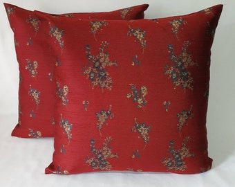 Burgundy and Gold floral pillow. Luxury brocade pillow. Deep red floral pillow cover, Festive decor,custom made 16 to 20 inches.