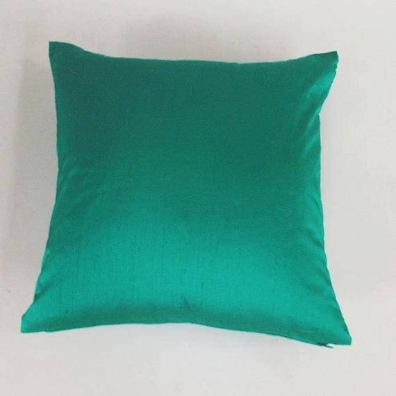 Jade green dupioni silk throw pillow