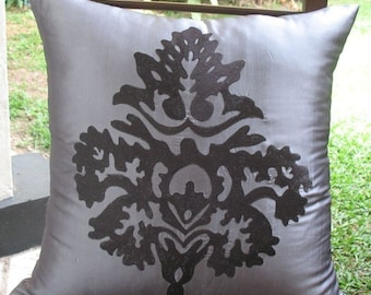 On sale, gray and black damask embroidered  pillow covers, gray decorative cushion cover. 18x18 inches, 40% off