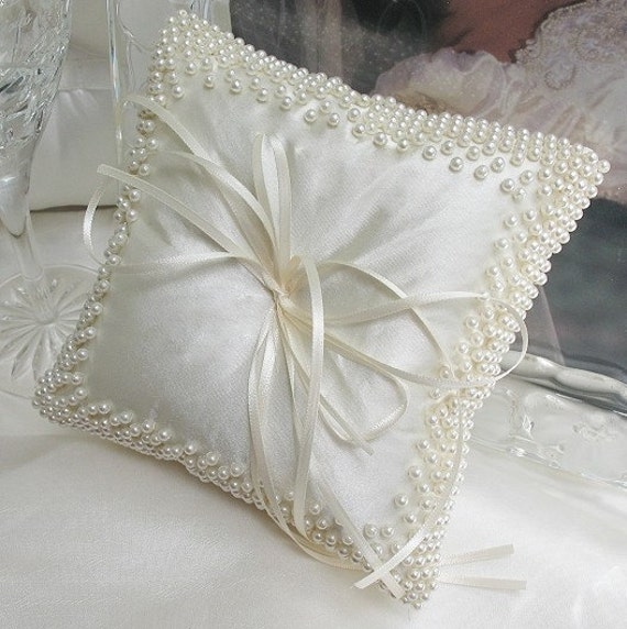 Wedding Ring Pillow Ring Bearer Pillow In White Satin With Ivary Pearl Bead Work Custom Made 8x8 Inches