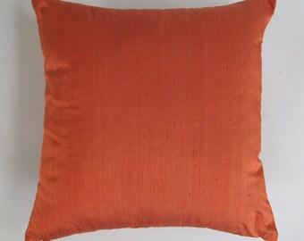 dark orange art silk pillow cover. Decorative deep orange pillow.  throw pillow cover. Custom made. 16 to 22 inches