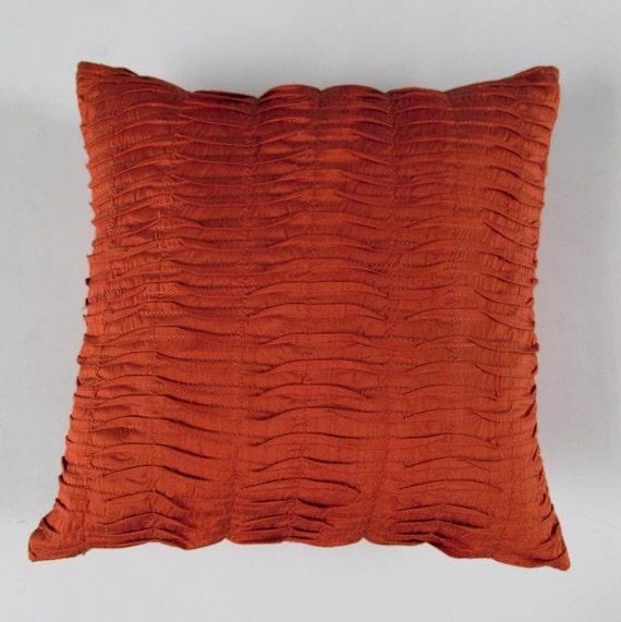 Burnt orange silk pillow. Orange