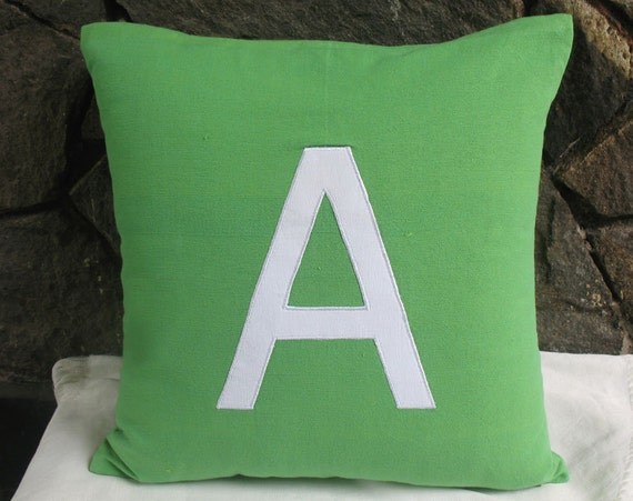 Apple green initial pillow. Monogram