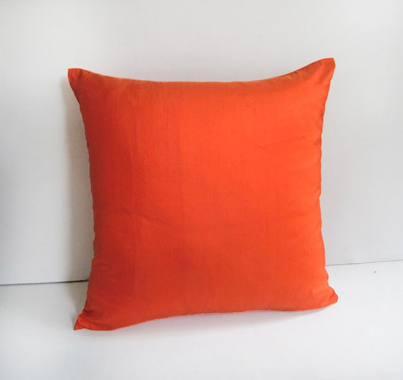 Orange Silk Pillow Cover Decorative Bright Orange Pillow