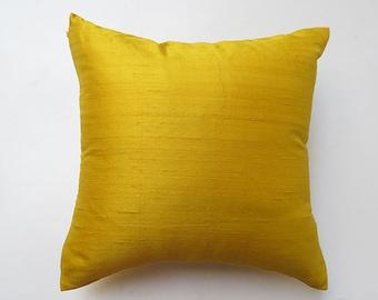 Golden  Yellow dupion silk pillow. pure  dupion silk cushion  cover. luxury  throw silk pillow 18 inch