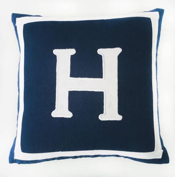 Navy Blue Monogram Pillow Blue And White Letter Pillow Nevy Etsy