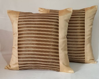 Brown and gold pillow,  Decorative banaras cushion covers, festive pillows. 18x18 inches custom made.