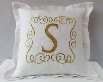 Gold letter monogram pillow cover,  16 x 16  pillow cover, personalised pillow,