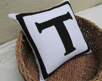 White monogram pillow, white  and black letter pillow,  custom made monogram cushion cover, Personalized Alphabet pillow. 18inch custom made