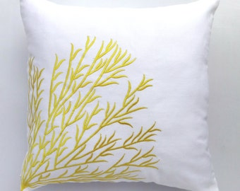 white & Yellow. Decorative    coral branch pillow 16 inch notical embroidered  coral trellis cushion cover Custom made